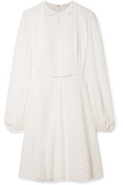 Giambattista Valli Lace-paneled silk-crepe dress