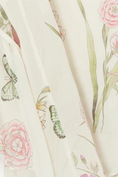 Giambattista Valli Bluse aus Seiden-Georgette mit floralem Print und Rüschen