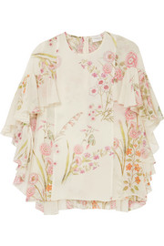 Ruffled floral-print silk-georgette blouse