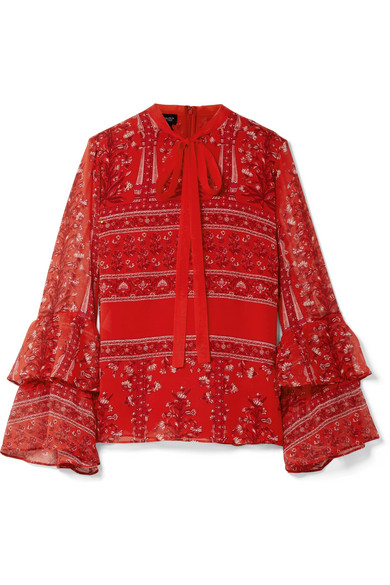 Giambattista Valli - Pussy-bow Printed Silk-georgette Blouse - Red