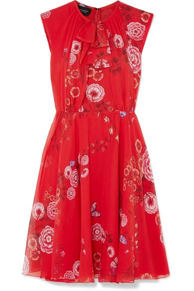 Floral-print Silk-georgette Mini Dress - Red Giambattista Valli nWxgi