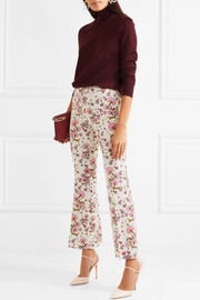 Floral-print crepe flared pants