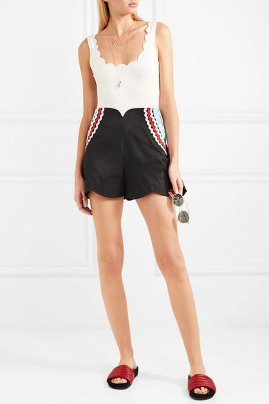 Paper London Baumwoll-Shorts mit Zackenlitzen und Wellenkanten Insbesondere Rabatt wm3QUmxK