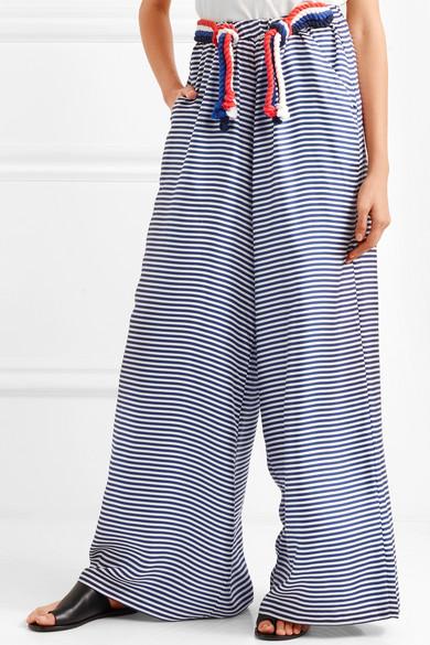 Paper London Hose mit weitem Bein aus gestreiftem Seiden-Twill mit Kordeln