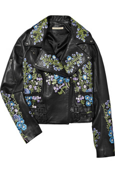 Christopher Kane | Flower-embroidered leather biker jacket | NET-A-PORTER.COM