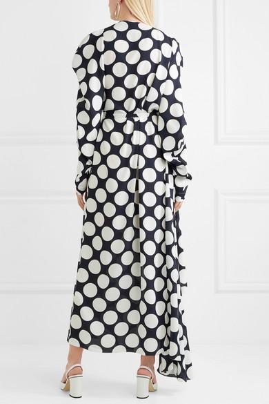 A.W.A.K.E. Wickelkleid aus Crêpe de Chine mit Polka-Dots