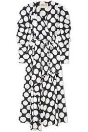 Polka-dot crepe de chine wrap dress