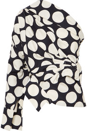 One-shoulder polka-dot twill top