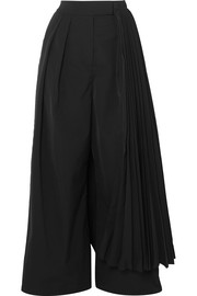 A.W.A.K.E. Layered pleated crepe wide-leg pants