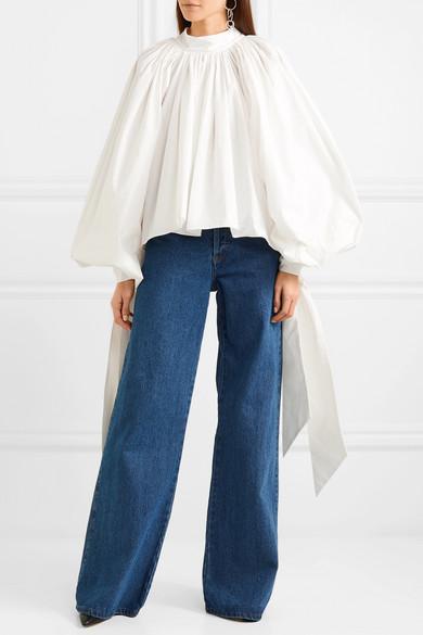 A.W.A.K.E. Geraffte Bluse aus Baumwollpopeline