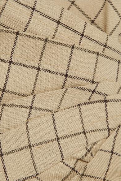 A.W.A.K.E. Gerafftes Oberteil aus karierter Baumwolle mit asymmetrischer Schulterpartie