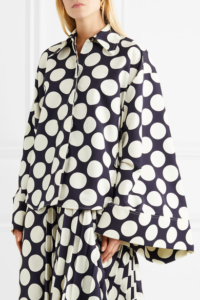 A.W.A.K.E. Oversized-Hemd aus Crêpe de Chine mit Polka-Dots