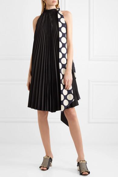 A.W.A.K.E. Back to Front wendbares Kleid aus Crêpe mit Polka-Dots und Falten