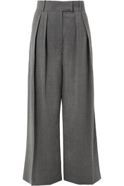 Pleated wool-blend wide-leg pants