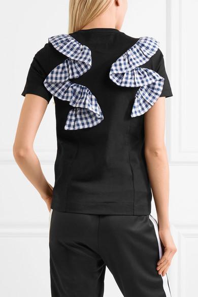 Facetasm T-Shirt aus Baumwoll-Jersey mit Rüschen mit Gingham-Karo