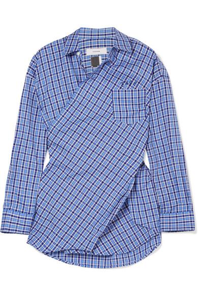 Facetasm - Embroidered Checked Cotton-poplin Shirt - Blue