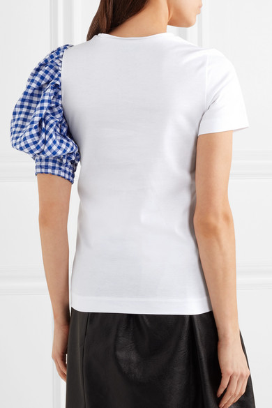 Facetasm T-Shirt aus Baumwoll-Jersey mit Ärmel aus kariertem Leinen