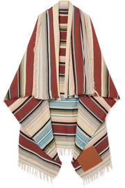 Leather-appliquéd striped wool-blend scarf
