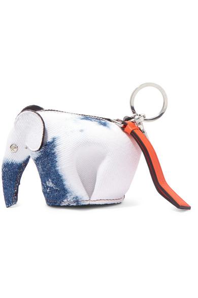 Loewe Elephant Taschenanhänger aus Denim mit Lederbesatz
