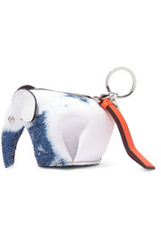 Elephant leather-trimmed denim bag charm