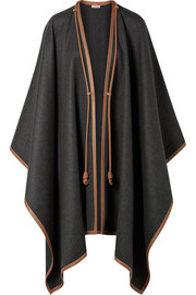 Loewe Leather-trimmed wool, silk and cashmere-blend poncho
