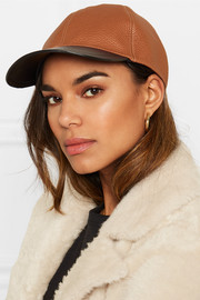 Lace-up two-tone leather baseball cap