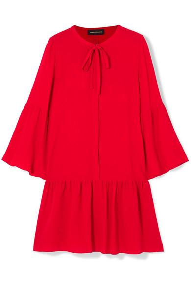 Vanessa Seward - Fiona Pussy-bow Silk-crepe Mini Dress - Red