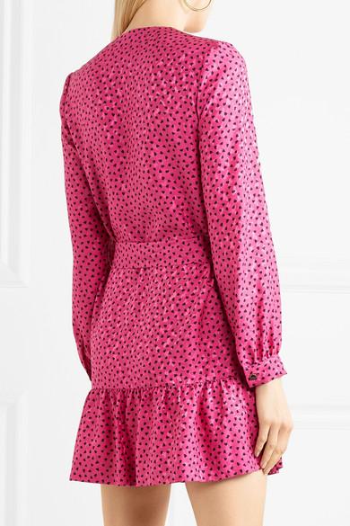 Vanessa Seward Flora Minikleid aus bedrucktem Seiden-Jacquard mit Gürtel