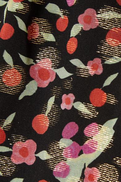 Vanessa Seward Flandre Midikleid aus Jacquard aus einer Seidenmischung mit floralem Print
