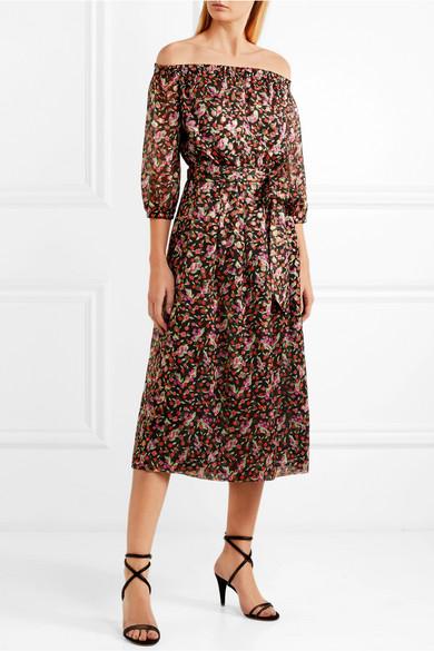 Vanessa Seward Flandre Jacquard Robe Midi En Soie Mélangée Avec Imprimé Floral
