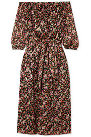 Flandre floral-print silk-blend jacquard midi dress