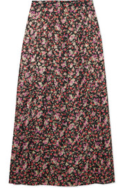 Farida pleated floral-print silk-blend muslin midi skirt