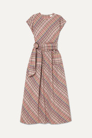 Checked cotton-poplin midi dress
