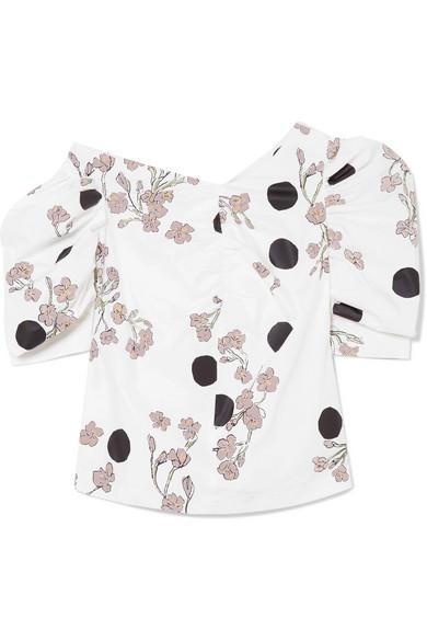 Isa Arfen Bedruckte Bluse aus Baumwollpopeline mit asymmetrischer Schulterpartie und Raffungen
