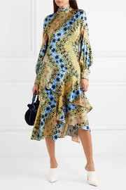Asymmetric printed silk-jacquard midi dress