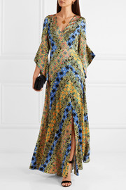 Printed silk-jacquard maxi dress