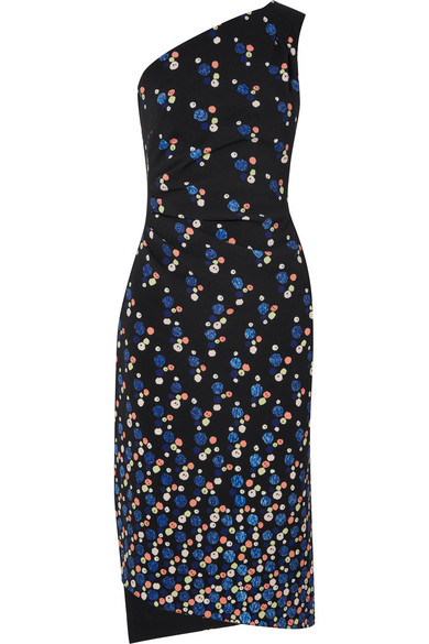 Peter Pilotto Cadi Kleid aus bedrucktem Crêpe mit asymmetrischer Schulterpartie