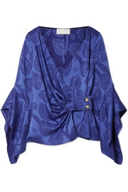 Satin-jacquard wrap top