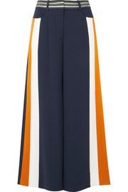 Striped satin-trimmed cady culottes