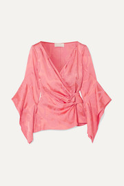 Satin-jacquard blouse