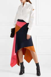 Peter Pilotto Asymmetric paneled cady and wool-blend skirt