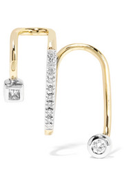 Avery Blanc 14-karat gold, rhodium-plated and diamond ear cuff