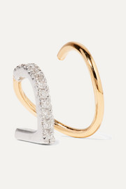 ela Blanc Twirl 14-karat gold, rhodium-plated and diamond earring