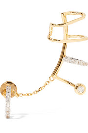 Ines Blanc convertible 14-karat gold, rhodium-plated and diamond ear cuff