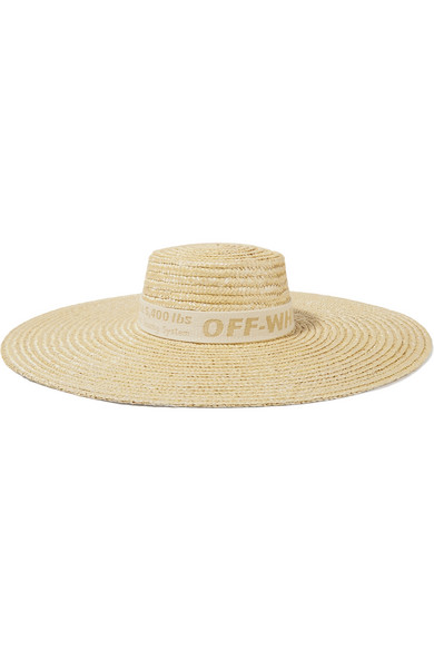 Off-White - Cotton Canvas-trimmed Straw Sunhat - Sand
