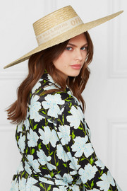 Cotton canvas-trimmed straw sunhat