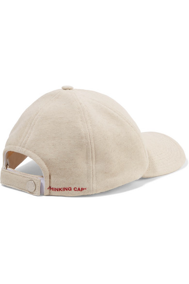 Embroidered Cotton-jersey Baseball Cap - Beige Off-white 0r15hzoGpM