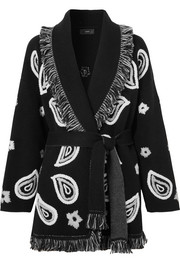 Bandana embroidered fringed cashmere cardigan
