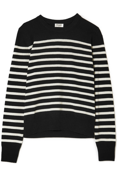 Saint Laurent - Marino Striped Cashmere Sweater - Black