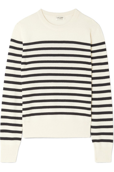 Saint Laurent - Marino Striped Cashmere Sweater - Ivory